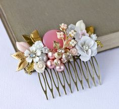 Pink flower comb