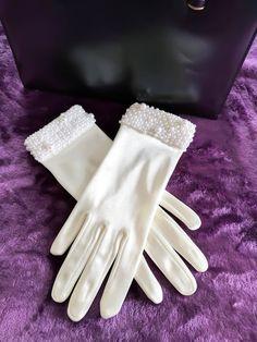 Wedding gloves white, Evening formal beaded gloves, 1950's evening glamour, Vintage bridal gloves, Rockabilly gloves, bridesmaid gloves, by thevintagemagpie01 on Etsy Vintage Gloves, Wedding Gloves, White Gloves, Vintage Bridal, Winter White, 1950s, Bridesmaid, Prom, Glamour
