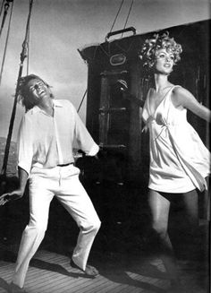 Richard Avedon's The Shrimp at Sea, with Jean Shrimpton and Jeanloup Sieff for Vogue US, January 1967 in Santorini, Greece