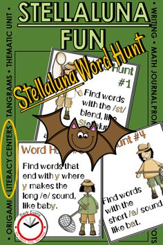 Extending the learning for J. Cannon's book, Stellaluna, has never been more fun! This thematic unit includes activities for literacy centers, math centers, writing, poetry,