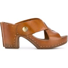 Silvano Sassetti 'La vie en rose' platform sandals ($293) ❤ liked on Polyvore featuring shoes, sandals, brown, strappy platform sandals, mid heel strappy sandals, strappy sandals, strap sandals and open toe sandals
