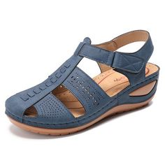 Lostisy LOSTISY Stitching Hollow Hook Loop Closed Toe Light Wedges Sandals is comfortable to wear. Shop on NewChic to see other cheap women sandals on sale. Women's Shoes Sandals, Wedge Sandals, Wedge Shoes, Shoe Boots, Flats, Women Sandals, Shoes Women, Ladies Sandals, Summer Sandals