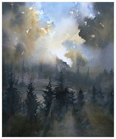 Andreas W Gortan Watercolor Clouds, Watercolor Artists, Watercolor Landscape, Watercolour Painting, Landscape Art, Painting & Drawing, Landscape Paintings, Cloud Art, Fashion Painting