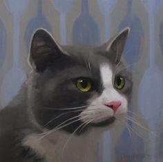 """Daily Paintworks - """"Gray Tuxedo Cat"""" - Original Fine Art for Sale - © Diane Hoeptner"""
