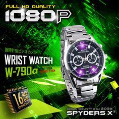 スパイダーズX 小型カメラ 腕時計型カメラ 防犯カメラ 1080P 赤外線LED 16GB内蔵 スパイカメラ W-790α | リアルストア通販 総合ショッピング通販サイト Casio Watch, Bracelet Watch, Digital, Design, Google