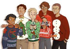 It's Christmas Eve and I just really wanted to draw Raven Boys in tacky sweaters.