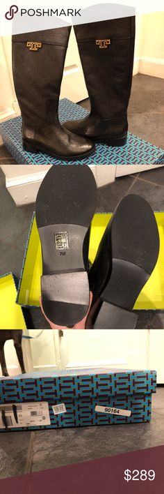 NWB Tory Burch Joanna Black Lthr Riding Boots Sz 7 NWB  (Tried on) Joanna Black Leather Riding Boots. Size 7. Have side zipper. Tory Burch Shoes Winter & Rain Boots