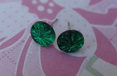 Green Gems Earrings by wynbrit on Etsy, $3.00