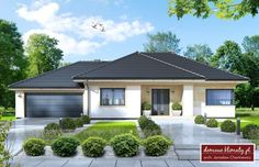 Projekt domu Wiesiołek II - Haus my favorite sweet home - Anbau House Plans Mansion, New House Plans, Dream House Plans, Modern House Plans, Modern House Design, Bungalow Style House, Bungalow House Plans, Philippines House Design, One Storey House