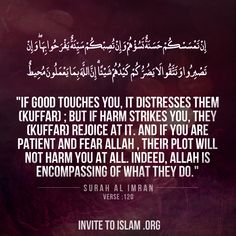 """""""If good touches you, it distresses them (kuffar); but if harm strikes you, they (kuffar) rejoice at it. And if you are patient and fear Allah , their plot will not harm you at all. Indeed, Allah is encompassing of what they do.""""  Surah Al-Imran: Verse 120"""
