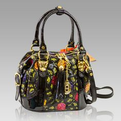 $875.60+-+Marino+Orlandi+Designer+Handpainted+Red+Roses+Leather+Boxy+Purse+Bag+[02MO3956HLBL]+:+Italian+Leather+Handbags,+Top+Rated+Designer+Hand+Bags,+Trendy+Designer+Handbags