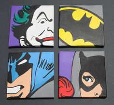 Batman Set 12x12 Stretched Canvas Wall Art by ArtofaSilentBee, $148.00 - these are awesome! even though I think that is Batgirl instead of Catwoman