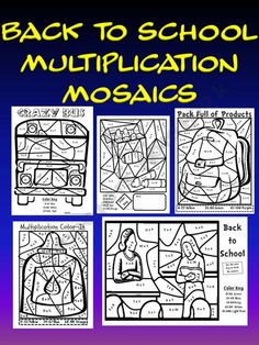 Back to School Multiplication Mosaic Pack-Coloring Fun.Review