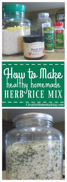 Make Herb Rice Mix Easy, inexpensive recipe for herb rice mix. Healthy and tastes better than store bought!Easy, inexpensive recipe for herb rice mix. Healthy and tastes better than store bought! Homemade Dry Mixes, Homemade Spices, Homemade Seasonings, Homemade Gifts, Rice Dishes, Food Dishes, Seasoned Rice Recipes, Sauces, Inexpensive Meals