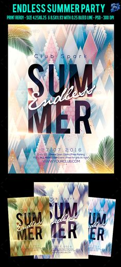Endless Summer Party Flyer Template PSD. Download here: https://graphicriver.net/item/endless-summer-party-flyer-/17413872?ref=ksioks