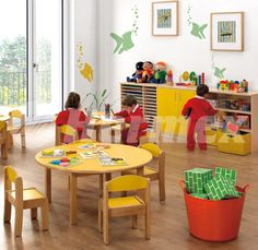 Kids Table And Chairs, Kid Table, Daycare Rooms, Church Nursery, Kids Party Decorations, School Furniture, Kids Room, Child Room, Warm Colors