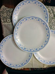 VINTAGE Corelle Morning Blue Set of FOUR by kitchenadevintage $20.00 & Corelle dinnerware... I am hoping the round plates etc. are all ...