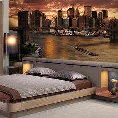 Home Decoration Ideas and Design Architecture. Dream Rooms, Dream Bedroom, Home Bedroom, Poster Xxl, House Decoration Items, Home Music Rooms, Ceiling Murals, Round Beds, Room Wallpaper