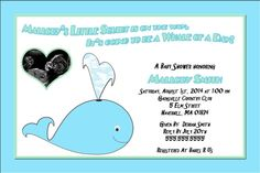 Cute Pink & Blue Whale Baby Shower Personalized by GMCHDesigns, $8.00