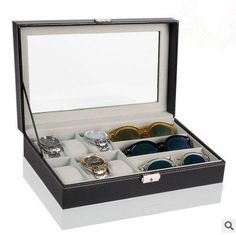 6 Piece Watch Case and 3 Piece Eyeglasses Storage Black Leatherette Combo Jewelry Box and Sunglass Glasses Display Case Cheap Jewelry, Jewelry Box, Jewelry Accessories, Jewelry Making, Display Boxes, Display Case, Watch Case, Jewelry Packaging, 3 Piece