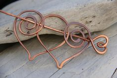 "Hair slide, hair barrette, hair fork. hair pin, ""Two hearts"", copper hair  stick, shawl pin"