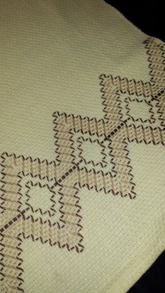 Linen Tea Towel ~ Hand Towel with Huck Embroidery by TeresaScholleDesigns on Etsy