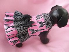 Paris Eiffel Tower Hot Pink and Black  Dog Dress or Cat Dress  Double Ruffle  and Collar Harness Dress. $23.95, via Etsy.