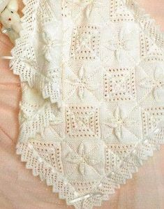 BABY BLANKET CUSHION Pram Cover Knitting Pattern DK 338 - Baby Knitting Pattern for a Pram and Cushion Cover. Approximate size for Pram Cover is and Cushion Cover is This is a copy of a vintage pattern, with a qua Baby Knitting Patterns, Baby Patterns, Knitting Patterns Free, Crochet Patterns, Vintage Pattern Design, Vintage Vogue Patterns, Knitted Baby Blankets, Baby Blanket Crochet, Baby Shawl