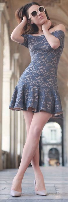 Grey Lace Little Dress #grey