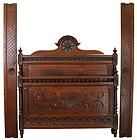 ANTIQUE FRENCH COUNTRY BRITTANY STYLE FULL-SIZE BED CARVED CHESTNUT SHIP'S WHEEL