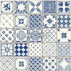 Indigo Blue Tiles Floor Ornament Collection
