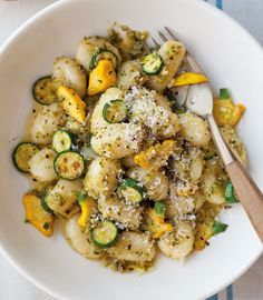 Potato Gnocchi with Zucchini-Almond Pesto | This summery pasta makes for a delightful vegetarian dinner. Serve it with a simple salad, like baby greens with tomatoes.
