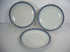 Pfaltzgraff Sky Salad Plates Set of 3 Stoneware White Blue Stripes Bread Dessert #Pfaltzgraff