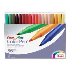 Pentel Color Pen Set, Set of 36 Assorted Colors