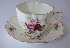 Vintage Tea Cup & Saucer Set, Old Royal Bone China, English Tea Cup, Pink Roses Tea Cup, Scalloped Edges, 24k Gild, Cottage Chic by ForeverCharmVintage on Etsy