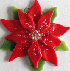 Fused Glass Christmas Ornament Poinsettia in Red by CDChilds