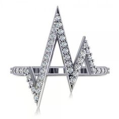 Allurez Round Diamond Heartbeat Pulse Vital Sign Ring 14k White Gold... (€780) ❤ liked on Polyvore featuring jewelry, rings, white diamond ring, round cut diamond rings, diamond anniversary rings, round diamond ring and white gold jewelry
