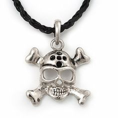 Silver Tone 'Skull & Crossbones' Pendant On Black Leather Style Cord Necklace - 40cm Length & 4cm Extension Avalaya. $7.20. Collection: pirate. Material: leather. Theme: skull. Wear On: neck. Occasion: casual wear