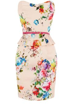 Florence Peplum Dress.  Rock a floral print like this with a blazer and casual nude wedges ladies.  Done Right