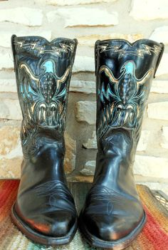 Vintage Cowboy Western Acme Boots with Turquoise by busstopshop, $169.00