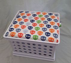 This product is for you if you already have the crates!! (*Made to order tops with fabric patterns of your choice.)  Storage crate seats are GREAT for elementary classrooms and childrens playrooms. Current fabric options / already made seats: - grey & purple chevron - grey/black & purple hearts - black with colorful polka dots - red/blue/yellow plaid - teal with owls & foxes (2 seats available) - pink with white polka dots (1 seat available) - owls (1 seat available) I can also send you…