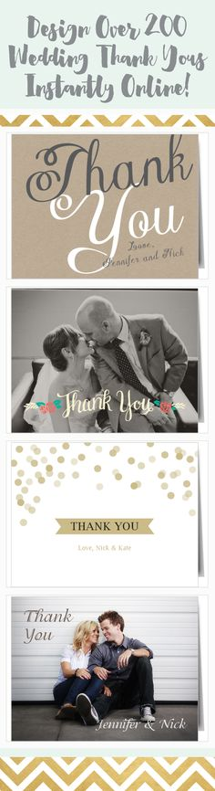 Let your close friends and family know how much you appreciated them sharing in your big day with a fully customizable wedding thank you card.