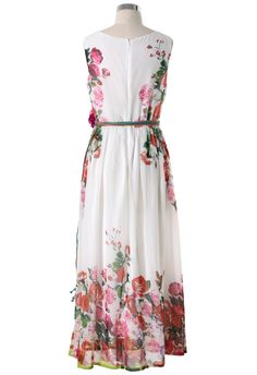 White Floral Blooming Maxi Dress - Retro, Indie and Unique Fashion