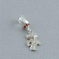 Wisconsin Silver Football Charm Bead Wisconsin silver jewelry Wisconsin Pandora style bead Wisconsin pandora charm bead