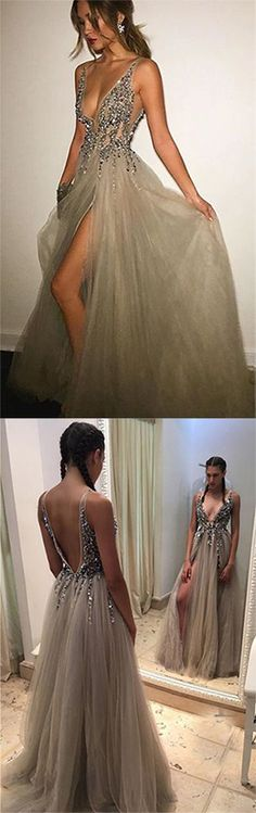 Gray Deep V-neck Prom Dress,Side Slit Prom Dresses,Long Prom Dress With Crystals,Tulle Prom Dress With V back,beading prom dress,prom dress