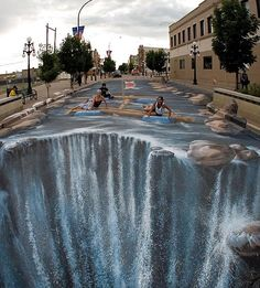 Work by 3D sidewalk artist, Edgar Mueller