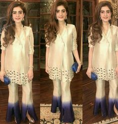 50 Trendy Trouser Designs 2019 In Pakistan Pakistani Fashion Casual, Pakistani Dresses Casual, Pakistani Wedding Outfits, Pakistani Dress Design, Indian Dresses, Indian Outfits, Indian Fashion, Women's Fashion, Stylish Dresses