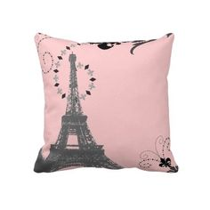 ooh la la pink vintage paris eiffel tower Pillow