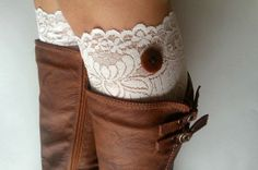 Ivory Lace Boot Cuff socks , Soft Stretch lacy socks for boots on Wanelo