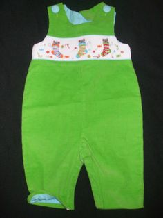 Beaux et Belles Green Smocked Longall Stockings Mice Smockings Boys LongAll